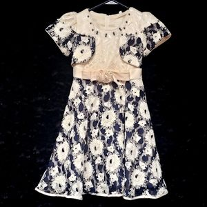 Other - VINTAGE peach/navy blue girls dress - size 6